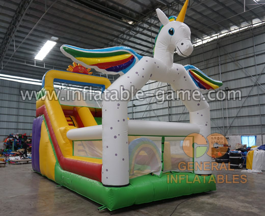 Unicorn inflatable slide